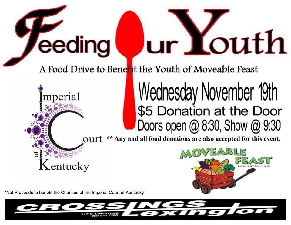 A Benefit for Moveable Feast Wednesday, November 19, 2014 Crossings Lexington Door @ 8:30 Show @ 9:30 $5 Door Dontation
